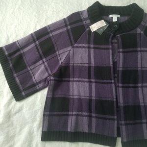 Dressbarn Woman purple & black plaid cardigan